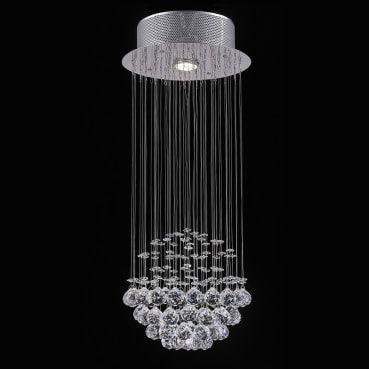Plafon Aço Cromado Cristal Translúcido 1xGU10 Até 50w 25x60cm Itamonte Imp PL-006/1.25CL