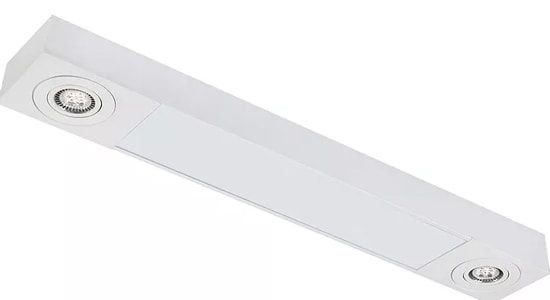 Plafon Sobrepor Mix Retangular 2 Tubular T8 + 2 AR111 97x17cm Metal e Acrílico Impacto MD1120-S