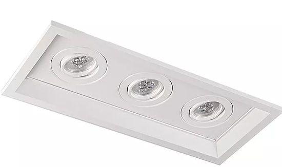 Luminária Embutir Recuado Chanfrado Retangular Triplo AR70 39x17cm Metal Impacto 1042/3