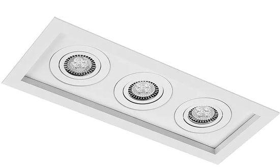 Luminária Embutir Recuado Micro Borda Retangular Triplo PAR16/Dicroica 37,5x15,5cm Metal Impacto 1010/3