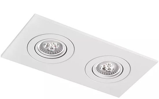 Luminária Embutir Face Plana Retangular Duplo PAR30 33x17cm Metal Impacto M302