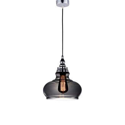 Pendente Hoa em Metal e Vidro Ø24,5 Cor Cromado e Fumê  Bella Iluminação AC004S
