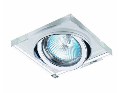 Spot Embutido em Metal e Cristal 1x50W GU10 9x9x2,5cm Cor Cromado e Transparente Bella Iluminação YD134