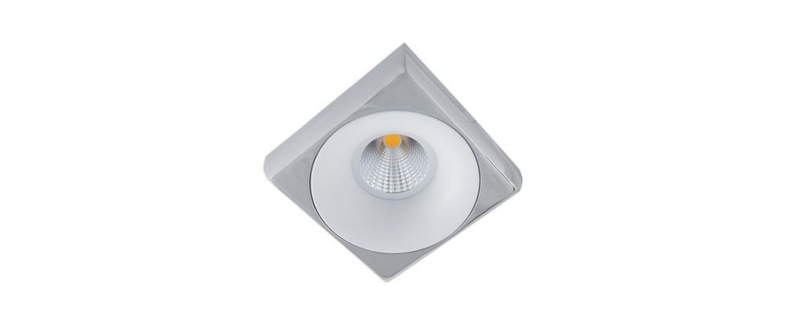 Semiembutido Locana Quadrado Cromado e Branco Metal Stella SD4700Q