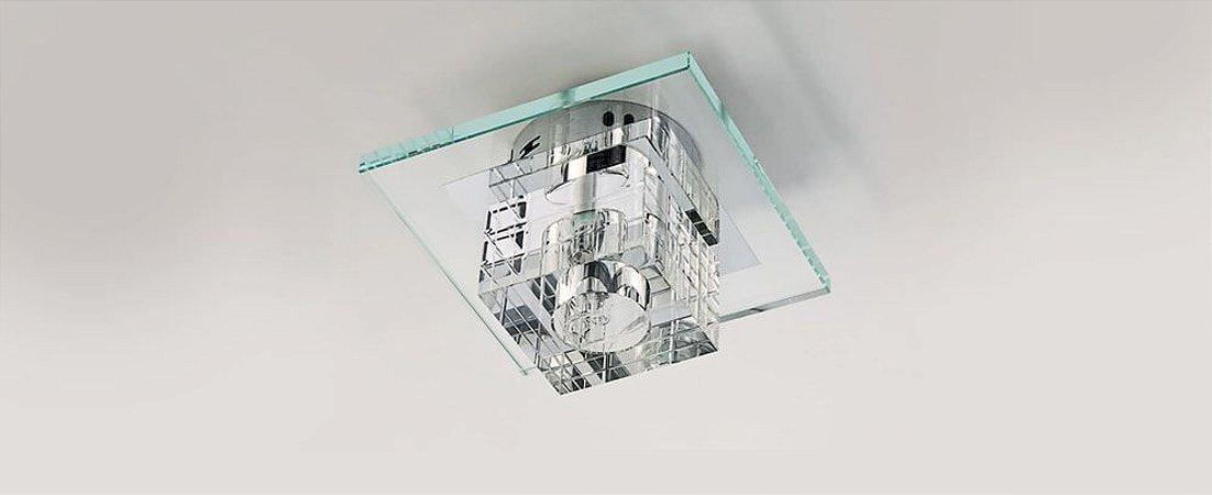 Plafon Dagda Quadrado Cristal e Vidro Transparente Stella SD7500