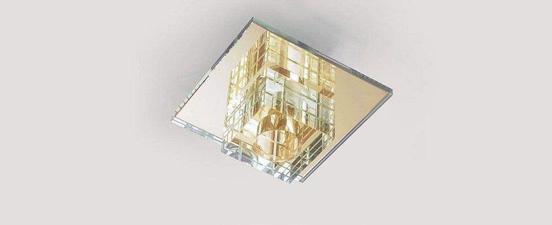 Plafon Dagda Quadrado Cristal e Vidro Transparente e Dourado Stella SD7530