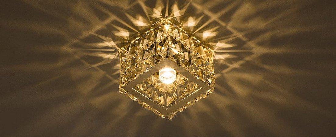 Semiembutido Freya Quadrado Metal e Cristal Champanhe Stella SD4031Q