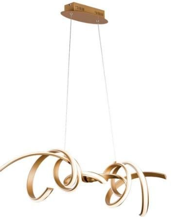 Pendente Fluire em Metal 100cmx25cmx30cm LED 45 W Cor Dourado Bella Iluminação RE006