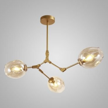 Pendente Connettori Aço Dourado - Vidro Conhaque Mais Luz PE-072/3.91CODOU