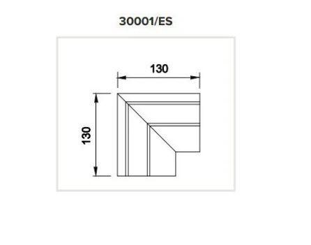 Junção Teto/Teto Sistema de Embutir Linear Linha Tecno 130x130mm Usina 30001/ES