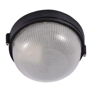 Plafon sem Grade Vidro Estriado e Alumínio 19,2x10,7cm 1xE27 25W Cor Preta Itamonte Imp PL-021/1.20P
