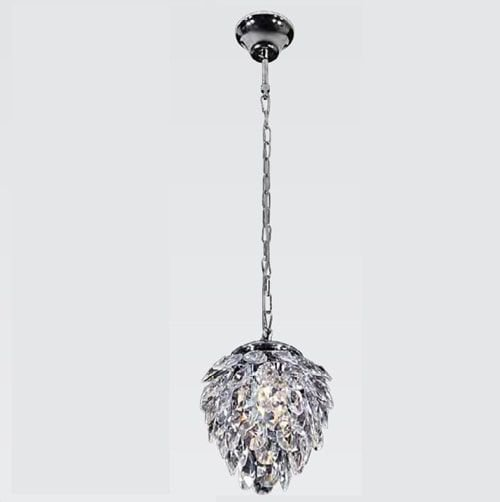 Pendente Nut em Metal e Cristal 23cmX28cm 2XG9 Cor Cromado e Transparente Bella Iluminação HU2173
