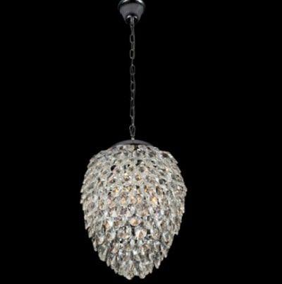 Pendente Nut em Metal e Cristal 40cmX51cm 5XG9 Cor Cromado e Transparente Bella Iluminação HU2174