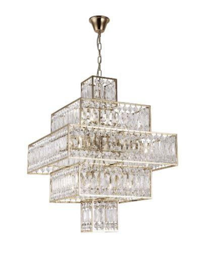 Pendente Taj Metal e Cristal 60x60x83,5cm Cor French Gold e Transparente  Bella Iluminação MR006