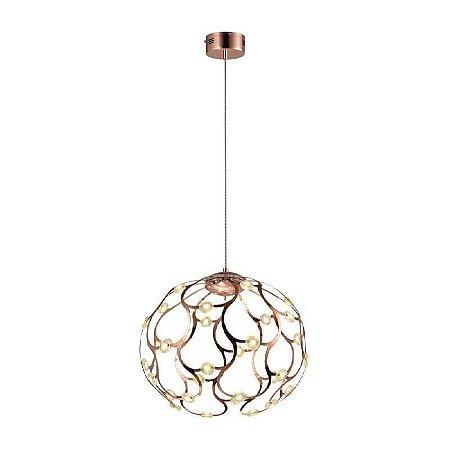 Pendente LED Spher Metal 33W 3000K Quente Ø55 Cor Rose e Transparente Bella Iluminação BB002L