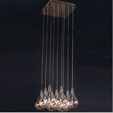 Pendente Drop Ø37cm 9 G4 Bipino 220v Cor: Cromado e Transparente Bella Iluminação HO1370B