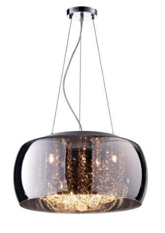 Pendente Soho em Cristal Metal e Vidro 9x40W G9 ø60x20cm Cor Cromado e Transparente Bella Iluminação PD006CR