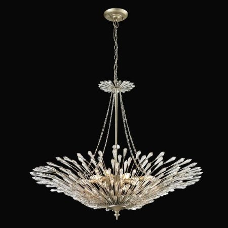 Lustre Deco Cristal 79xØ94  8XE14 Cor Prata Envelhecida e Transparente Bella Iluminação BO002