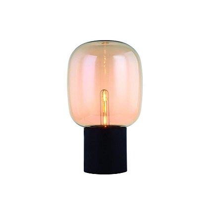 Abajur Topaz Metal e Vidro 42,5x25cm 1xE27 Cor Estutura Preta Vidro Champanhe Casual Light AB1245-CH