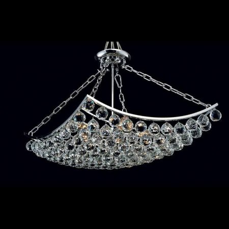 Lustre Eze Cristal 70x45x45 5XE14 Cor Cromado e Transparente Bella Iluminação AQ004S