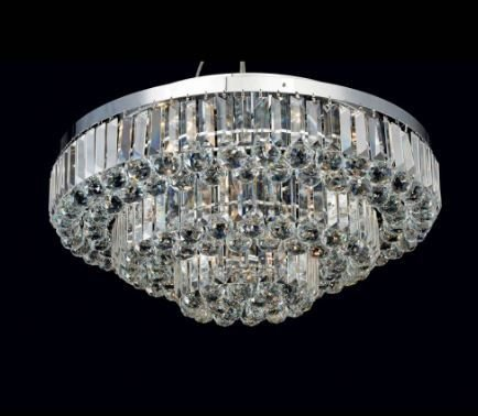 Plafon Dijon em Metal e Cristal 80x38cm 13xE14 Cor Cromado e Transparente Bella Iluminação AQ008L