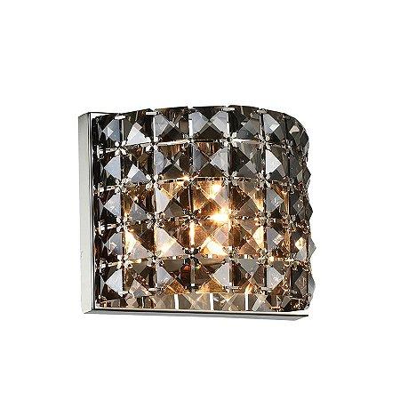 Arandela Copenhague 1xG9 de Cristal Quadriculado Fumê 158x130x95mm Chandelie CH0001-F