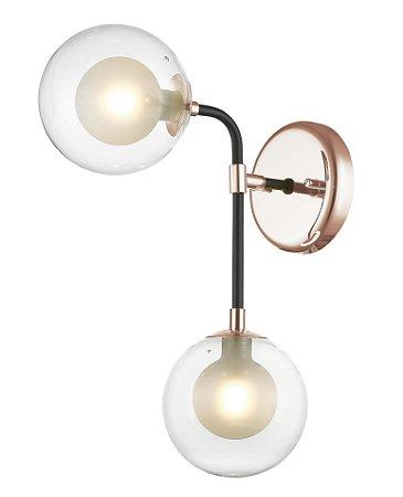 Arandela Metal e Vidro 37x12x27 Cobre Quality AR1264