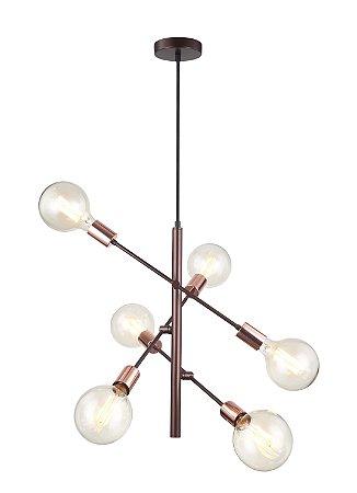 Pendente Arrow Metal 3 Braços Direcionáveis  Ø50x51cm 6xE27 40W Cor Café Casual Light PD1310-CA