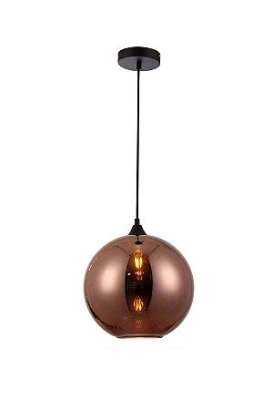 Pendente Calico Esfera Metal e Vidro 25cm 1xE27 40W Cor Cobre Casual Light PD1290-CO