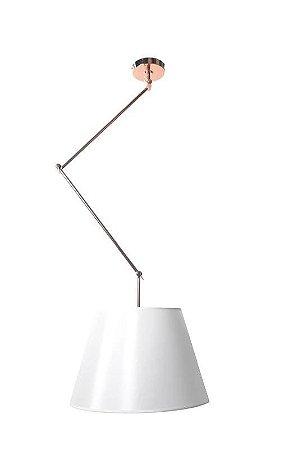 Pendente Dome Articulável Metal 76x30cm Cor Cobre  e Cúpula Branca Casual Light PD947-CO