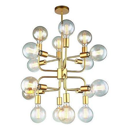 Pendente Hill Metal 50,5x46cm 16xE27 Cor Dourado Casual Light PD1312-DO