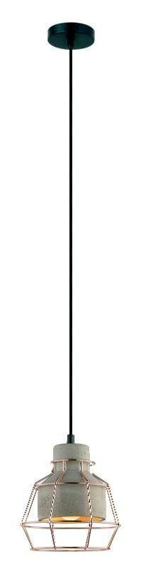 Pendente Jubile Aramado Metal e Concreto Ø18x19,5cm 1xE27 40W Bivolt Cor Cobre e Concreto Casual Light PD1127