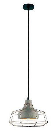 Pendente Jubile Aramado Metal e Concreto Ø30x22cm 1xE27 40W Bivolt Cor Cobre e Concreto Casual Light PD1128