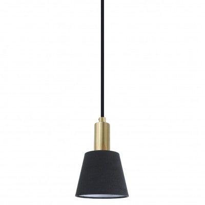 Pendente Pipe Metal e Tecido 12cm x 19,5cm 1xE14 Cor Dourado e Preto Bella Iluminação ME001