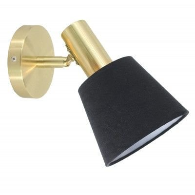 Arandela Pipe Metal e Tecido  12cm x 21cm 1xE14 Cor Dourado e Preto Bella Iluminação ME004