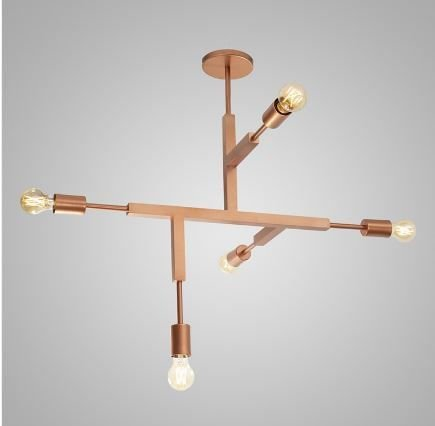 Pendente Plafon Jazz Alumínio 84x66x73cm 5xE27 LED Bulbo A60 ou LED Filamento  Itamonte Nac 4281/5P