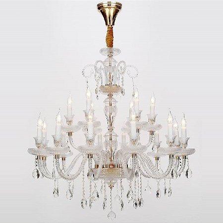 Lustre Elyseé Vidro 145xØ120 18xE14 Cor Dourado e Transparente Bella Iluminação BK5318