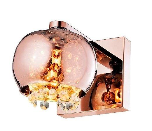 Arandela Dublin Metal,Vidro e Cristal 16x13x19 Cobre e Transparente Quality QAR1281-CO