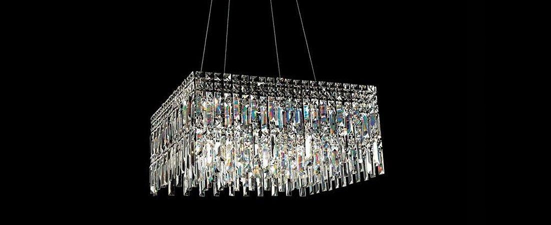 Pendente/Plafon Quadrado Cristal Transparente Stella SD9030