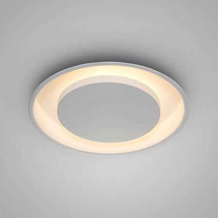 Plafon Embutir Redondo Alumínio Eclipse ø33x08cm 2xE27 LED Bulbo A60 Branco Itamonte Nac 2042/30E27BTBT