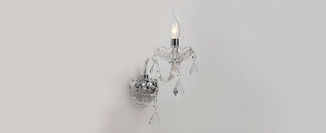 Arandela Rafinnato Vidro e Cristal Transparente Stella SD2810/01