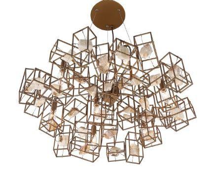 Pendente Nilo 7L E14 de Metal Dourado com Pedras  7L. E14 MAX 40W BIVOLT Chandelie CH2092-2
