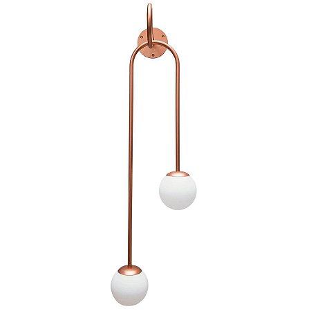 Arandela Pêndulo Globo Fosco Ø120 2xG9 260x920x280 Cor Cobre Metalizado Usina 1649570CB-M