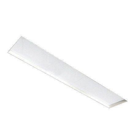 Painel Embutir No Frame Retangular Cor Branco 124x9,6cm 2XT8 1,20m Metal e Acrílico Newline IN60213BT