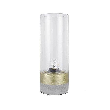 Abajur Moa Vidro 31,5xØ12cm 1XE27  Cor Dourado e Transparente Bella Iluminação CI012A