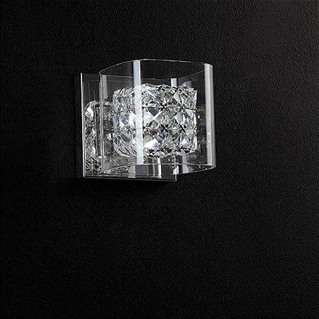 Arandela Ravel Cristal 12cmx12cmx12cm  1XG9 Cor Cromado e Transparente  Bella Iluminação HO027