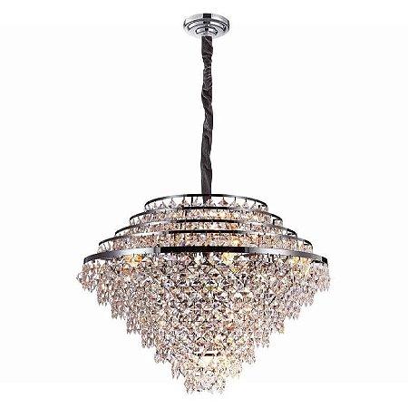 Lustre Palace Cristal Ø91  20xE14 Cor Cromado e Transparente Bella Iluminação AQ025L