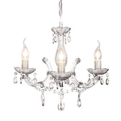 Lustre Duchessa Acrilíco 42xØ50 3XE14 Cor Cromado e Transparente Bella Iluminação KH1063