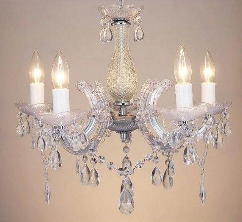 Lustre Duchessa Acrilíco 42xØ50  5XE14 Cor Cromado e Trasnparente Bella Iluminação KH1065