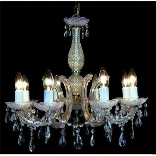 Lustre Duchessa Acrilíco 56xØ56  8XE14 Cromado e Trasnparente Bella Iluminação KH1068